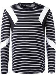 Neil Barrett Geometric Insert Striped Top Blue
