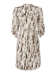 Episode Printed Wrap Shirt Dress Latte