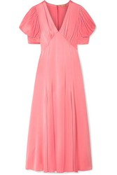 Michael Kors Collection Crinkled Satin Midi Dress Antique Rose