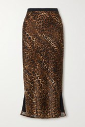 Cami Nyc The Jessica Leopard Print Silk Charmeuse Midi Skirt Brown