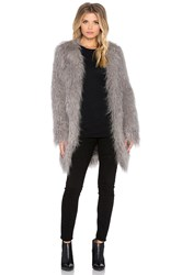 Smythe Mongolian Faux Fur Coat Gray