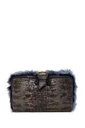 Ugg Aldabella Genuine Lamb Fur Reversible Clutch Blue