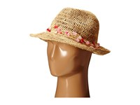Hat Attack Raffia Open Weave Fedora With Multi Stone Trim Natural Pink Fedora Hats