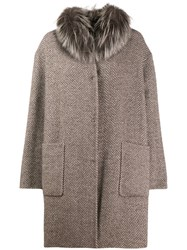 Manzoni 24 Fur Trim Herringbone Coat Brown