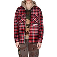 Off White C O Virgil Abloh Cotton Blend Flannel Shirt Red