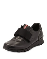 Prada Linea Rossa Strap Front Leather Running Sneaker Black