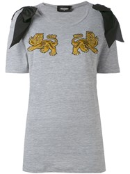 Dsquared2 Lion T Shirt Women Silk Cotton Viscose L Grey