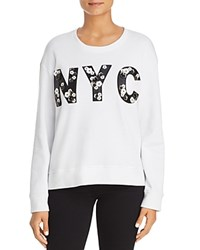Kenneth Cole Floral Applique Nyc Sweatshirt White