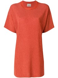 Laneus Plain T Shirt Dress Yellow And Orange