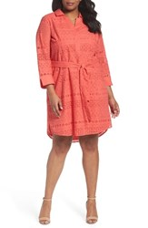 Foxcroft Plus Size Women's Taylor Eyelet Shirtdress Sunset Coral