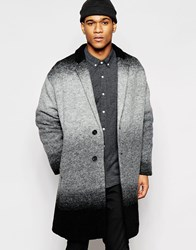 Asos Italian Wool Overcoat In Black And White Ombre Black