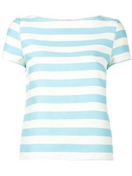 Red Valentino Pleated Back Striped Top Women Silk Cotton 44 Blue