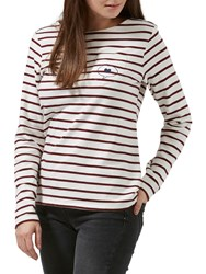 Sugarhill Boutique Brighton Love Talk Embroidered Top Cream Burgundy