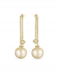 David Yurman Solari Yellow South Sea Pearl And Diamond Chain Drop Earrings