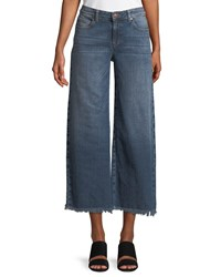 Eileen Fisher Organic Cotton Stretch Denim Wide Leg Ankle Jeans With Raw Edges Petite Aged Indigo