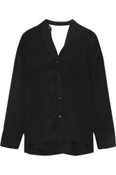 Helmut Lang Cutout Twill Wrap Shirt Black