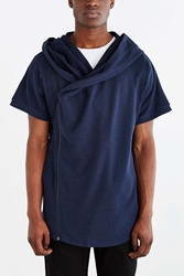 The Narrows Short Sleeve Asymmetrical Zip Hooded Sweatshirt Navy
