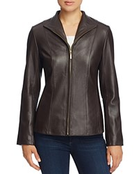 Cole Haan Wing Collar Leather Jacket Dark Espresso