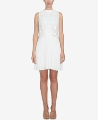 Cece Lace Overlay Pleated Dress New Ivory