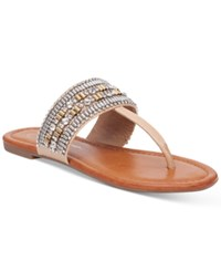 Jessica Simpson Rollison Beaded Flat Sandals Women's Shoes Buff