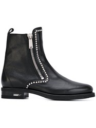 Dsquared2 Zip Up Ankle Boots Men Leather Rubber 42 Black