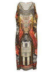 Camilla Warrior Print Silk Maxi Dress Black Multi