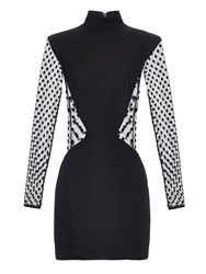 Balmain Long Sleeved Polka Dot Mini Dress