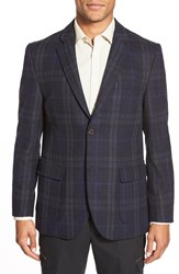 Singer Sargent Regular Fit Plaid Sport Coat Dress Blue