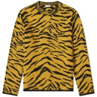 Saint Laurent Zebra Jacquard Knit Crew Yellow