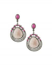 Bavna Composite Ruby Pink Sapphire And Diamond Drop Earrings