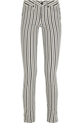 Tory Burch Marlien Striped Mid Rise Slim Leg Jeans