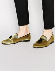Asos Tassel Loafers In Velvet Gold