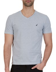Nautica Slim Fit Striped V Neck Tee Bright White