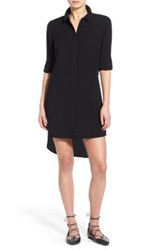 Fire 'Boyfriend' High Low Shirtdress Black