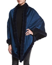 La Fiorentina Asymmetric Cashmere Wrap W Rabbit Fur Dark Blue
