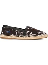 Dolce And Gabbana Bird Print Espadrilles Black