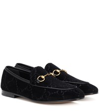 Gucci Jordaan Gg Velvet Loafers Black
