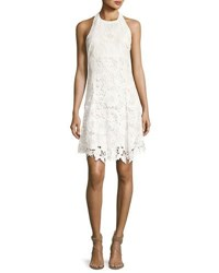 Alice Olivia Susan Embroidered Halter Flare Dress Off White