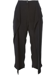 Lost And Found Draped Cropped Trousers Black