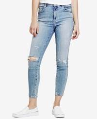Guess High Waist Skinny Jeans Light Wash With Scrunching