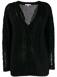 Patrizia Pepe V Neck Knit Jumper Black