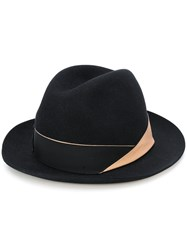 Borsalino Band Detail Fedora Wool Felt Black