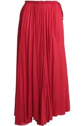 Antik Batik Bowly Gathered Voile Maxi Skirt Red