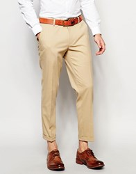 Asos Skinny Cropped Trousers Camel Stone