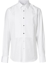 Burberry Panelled Bib Cotton Oxford Dress Shirt White