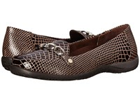 Vionic With Orthaheel Technology Alda Flat Loafer Chocolate Patent Croco Women's Slip On Shoes Brown
