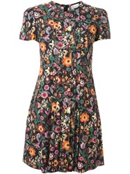 Red Valentino Floral Print Pleated Dress Multicolour
