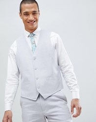 French Connection Wedding Linen Slim Fit Waistcoat Light Grey