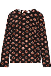 Prada Printed Crepe Blouse Black