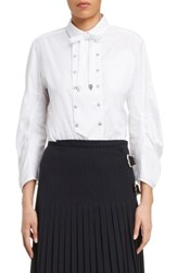 Toga Women's Double Breasted Bow Blouse White